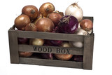 Onions in a wooden box