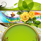 Colorful background with roses