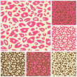 Pink Cheetah Print Seamless Pattern Set