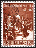 Postage stamp Italy 1967 shows Oath of Pontida, by Adolfo Cao poster