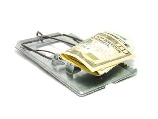 Ratoeira com notas de dólares