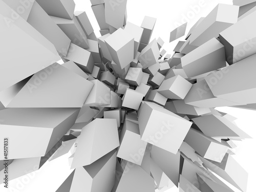 Fototapety, obrazy : Abstract 3D cubes explode background.