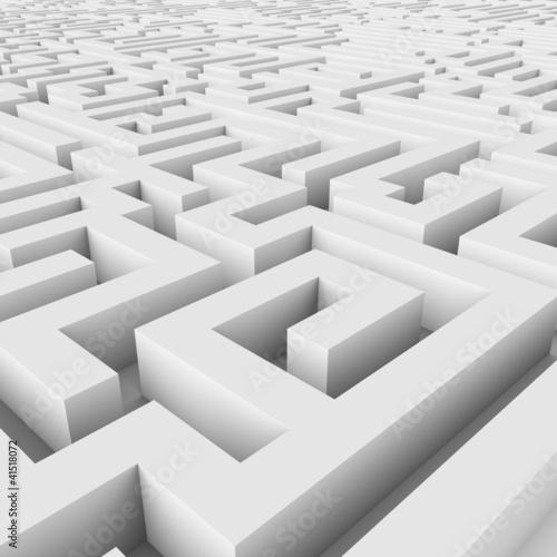 Endless maze 3D render.