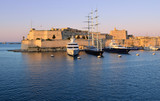 Sunset over the fort St. Angelo in the Grand Harbour