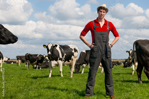 farmer in field with cows