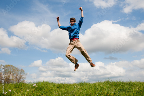 Happy jumping man