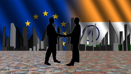 European Indian meeting with skyline flags illustration