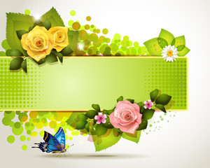Banner design with leaf, flowers and butterfly