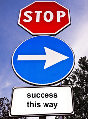 Traffic sign saying Success This Way
