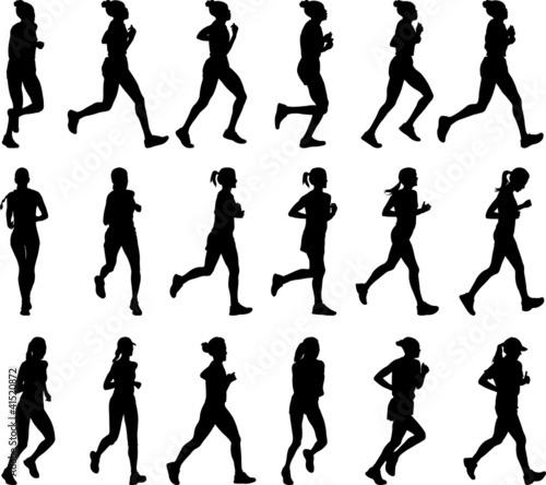 18 high quality female marathon runners silhouettes