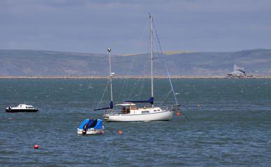 Boats anchored off the Dorset Coast