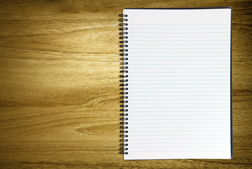 blank notebook on desk