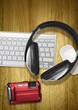 camera keyboard headphones