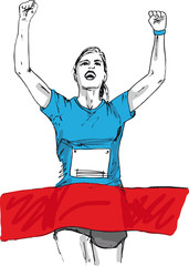 Sketch of woman reaching the finish line in a running event. vec
