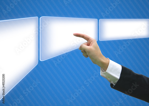 Business hand pointing screen empty