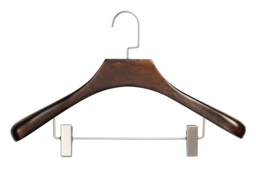 Closeup of brown wooden hanger isolated over white background
