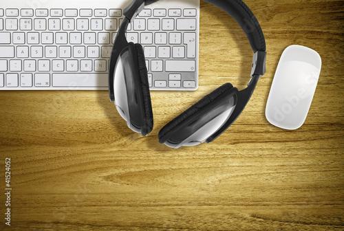 headphones on keyboard