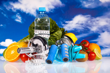 fitness dumbbells, water and healthy food