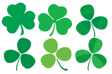 Set of six stylized clovers.