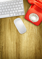 overhead desktop red phone