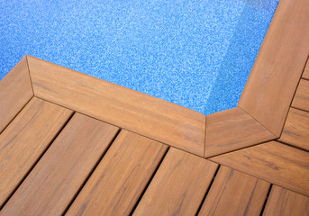 PISCINA AZUL SUELO MADERA  - Blue Swimming Pool