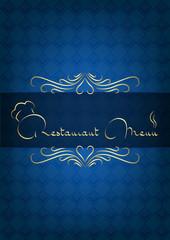Mavi kare desenli restorant kapağı