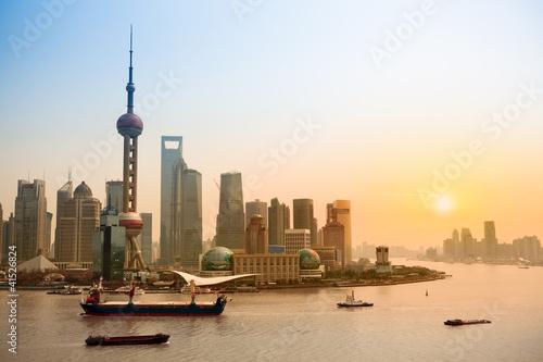 Poster shanghai skyline at dusk