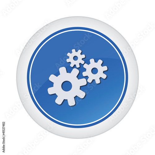 gear blue glossy button