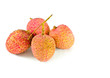Closeup of  lychees on white background