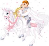 Fototapety Romantic couple on white horse