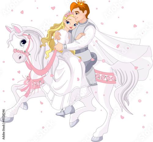 Foto op Aluminium Kasteel Romantic couple on white horse