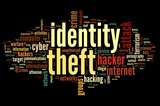 Identity theft in word tag cloud poster