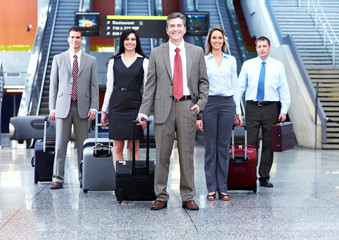 Group of business people at the airport.