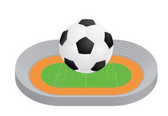 ball above stadium vector illustration