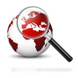 Welt, Erde, Krise, Europa, Lupe, Business, weltweit, Wirtschaft