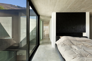 beautiful modern house in cement, interior, bedroom