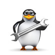 3d Penguin in glasses with a big spanner