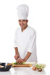Attractive nepalese chef male, leek