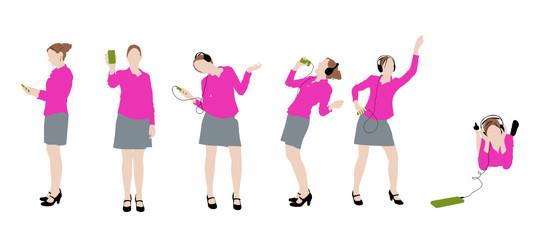 6 silhouettes de femme dansant avec son téléphone