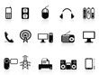 black electronic icons set