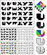 Tangram font, fixed-height alphabet, letters U,V,W,X,Y,Z, 5 styl