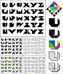 Tangram font, fixed-height alphabet, letters U,V,W,X,Y,Z, 5 styl