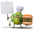 Chef virus et hamburger