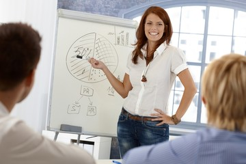 Happy businesswoman demonstrating