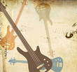 Vintage grunge style background with guitars