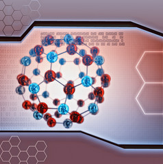abstract illustration of molecule on digital background