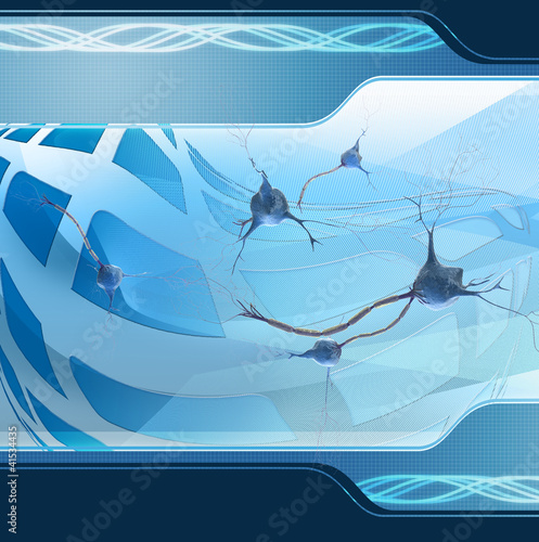 abstract illustration of  neurons on digital background