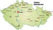 Inselkarte von Tschechien mit Hauptstädten