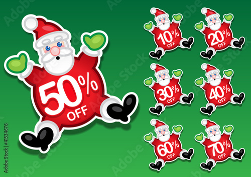 Santa Claus Discount Sale Stickers