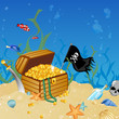 Vector illustration of an underwater treasure chest